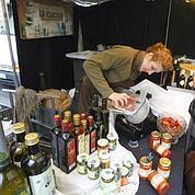 huiles d'olive et jambon de Parme 100 % bio, à La Cucina.