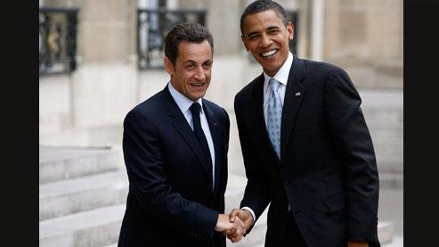 Nicolas Sarkozy et Barack Obama lors de la venue en France du candidat démocrate à la Maison-Blanche, le 25 juillet 2008. Les deux chefs d'Etat auront un tête-à-tête à l'occasion du sommet de l'Otan à Strasbourg, le 4 avril.