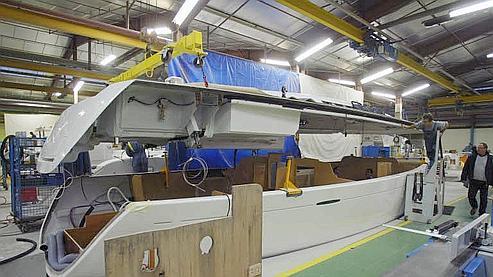Site de construction de bateaux du groupe Bénéteau, à Belleville-sur-Vie, en Vendée. Le groupe familial, créé en 1884, n'attend pas de reprise pour la plaisance avant 2011. Crédits photo François Bouchon Le Figaro
