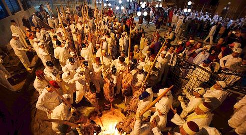 Jeudi, sur le mont Gerizim. Les fidèles font cuire à la broche, sur un brasier creusé dans la terre, les moutons sacrifiés par le grand prêtre.