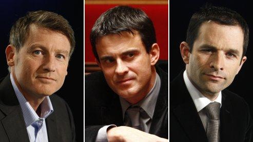 Vincent Peillon, Manuel Valls et Benoît Hamon (de gauche à droite), qui incarnent la nouvelle génération du PS, pourraient tenter d'obtenir l'investiture de leur parti pour la présidentielle de 2012 (photos : Le Figaro, montage : lefigaro.fr).