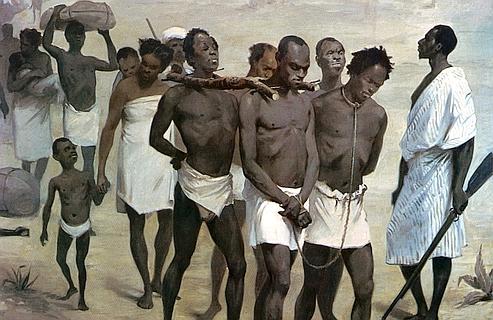 Peinture anonyme représentant un groupe d'esclaves dans un convoi en partance pour Zanzibar, en Afrique, vers 1860.