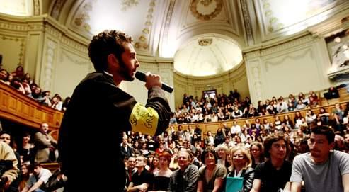 Assemblée générale des étudiants, le 7mai dernier à la Sorbonne. L'établissement parisien était le fer de lance du mouvement.