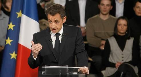 Nicolas Sarkozy à Saint-Quentin, en mars.
