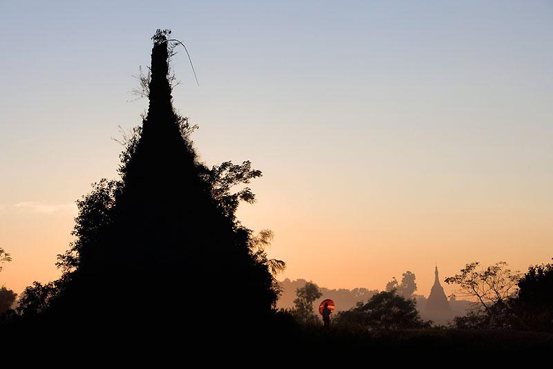 Vision fugace aux abords d'une pagode en Asie.