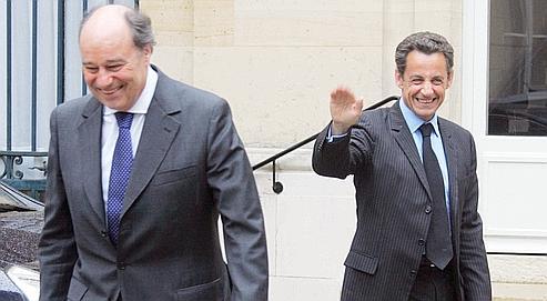 Nicolas Sarkozy et Jean-Michel Baylet, président du PRG, lors d'une rencontre à l'Élysée en mai 2007.