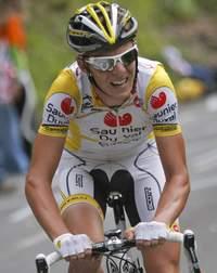 Riccardo Ricco, lors du dernier Tour de France, en juillet 2008. Le coureur italien est suspendu jusqu'au 18 mars 2010.