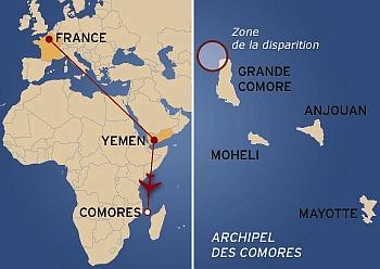 L'avion se serait abîmé à 20 km des côtes comoriennes au nord de la Grande-Comore. (Infographie lefigaro.fr)
