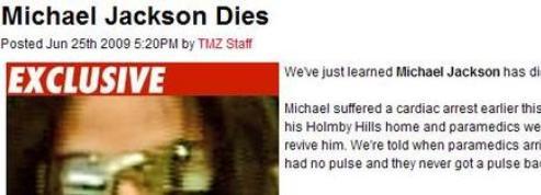 La mort de Jackson sur TMZ,<br>nouveau paradigme de l'info ?