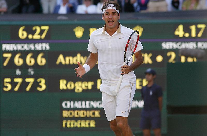 Roger Federer est désormais seul au sommet de l'histoire du tennis, après son quinzième titre en Grand Chelem remporté dimanche à Wimbledon, aux dépens d'Andy Roddick. Pour battre le record de Pete Sampras, remporter son sixième titre sur l'herbe anglaise, effacer le souvenir cuisant de son échec de l'année dernière face à Rafael Nadal et récupérer du même coup la place de numéro un mondial, le Suisse a dû batailler pendant 4h15 min d'un superbe niveau tennistique.