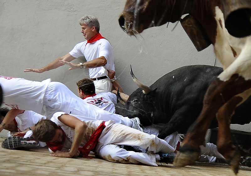 Trois coureurs ont été blessés lundi, lors du septième et avant-dernier lâcher de taureaux («encierro») des fêtes de la San Fermin, en Espagne. La course de dimanche avait été particulièrement sanglante, avec dix blessés, dont deux très graves, encornés, deux jours après la mort d'un coureur espagnol de 27 ans, lui aussi encorné.
