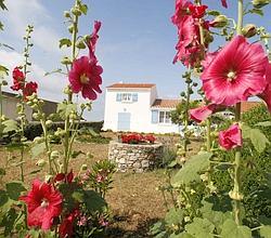 Les traditionnelles maisons blanches aux volets bleus.