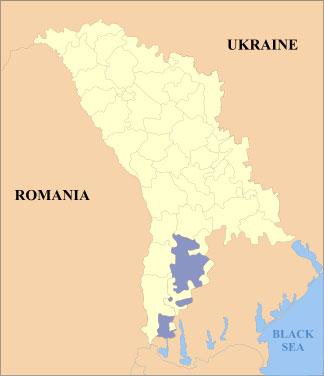 La Gagaouzie, en bleu foncé sur la carte. (Anonimu, Licence de documentation libre GNU)