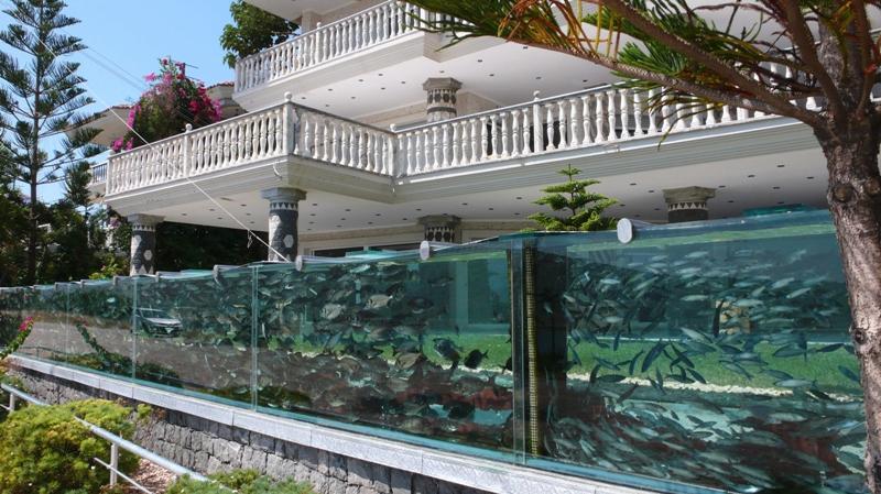 Un ingénieur turc de Cesme a substitué à la barrière de son jardin un immense aquarium d'une cinquantaine de mètres de long. L'aquarium, qui contient un millier de poissons de sept espèces différentes, attire déjà un grand nombre de curieux.