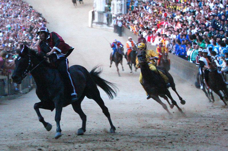 Tous les 16 août, à Sienne (Italie) et en hommage à la Vierge Marie, se tient traditionnellement le célèbre Palio, une course de chevaux spectaculaire qui attire des milliers de spectateurs. Chaque couple cavalier/cheval représente un des dix-sept quartiers de la ville.