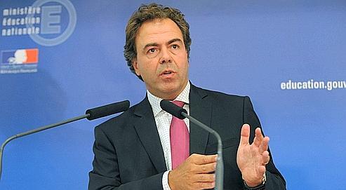 Le ministre de l'Éducation nationale, Luc Chatel, lors de sa conférence de presse de rentrée hier matin à Paris.