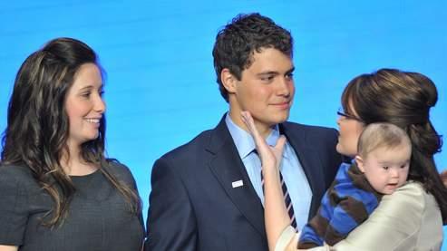 Bristol Palin, Levi Johnston, Sarah Palin et son fils Trig, à la convention républicaine, le 3 septembre 2008.