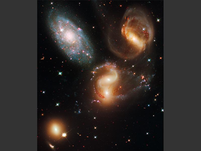 <b>Le «Quintet de Stephan», groupement de galaxies.</b><br /> Les nombreuses couleurs révélées par les nouveaux instruments de Hubble permettent de dissocier les étoiles plus jeunes (bleues / blanches) des étoiles adultes (jaunes) et de celles arrivées en fin de vie (rouges).<br /><br />  Le terme de «quintet» peut prêter à confusion puisque seules quatre de ces galaxies sont en réalité proches les unes des autres. La galaxie en haut à gauche est en fait sept fois plus proche de la terre que le reste du groupement.<br /><br />  Les trois galaxies les plus à droite (dont deux, au centre, sont très proches l'une de l'autre) présentent des formes anormales, avec des bras allongés et de longues trainées de gaz. Ces anomalies sont dues aux constantes interactions qu'elles entretiennent entre elles. La dernière galaxie, en bas à gauche, est peu affectée par ces interactions et présente une forme ordinaire.