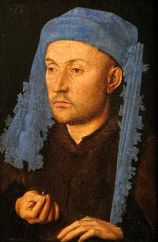 L'Homme au chaperon bleu,de Jan Van Eyck. (Brukenthal National Museum, Sibiu/Hermannstadt, Romania/Musée Jacquemart-André)