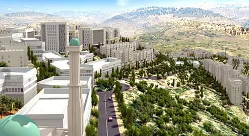 Image de synthèse du futur centre-ville de Rawabi, en Cisjordanie. Des immeubles blancs rangésen cercles concentriques autour d'un centre commercial, administratif et religieux. (Crédits photo : www.rawabi.ps)