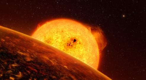 Une vue d'artiste de Corot-7b, une planète rocheuse distante de 500 années-lumière.