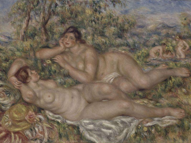 Pierre-Auguste Renoir, ''Les baigneuses'' - 1918. Les baigneuses est l'un des tableaux les plus connus de Renoir. Pour certains, ce tableau, peint quelques mois avant la mort de l'artiste, est une forme de testament. (Huile sur toile, 110 x 160 cm)