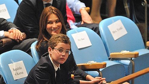 Louis Sarkozy et Carla Bruni à l'ONU