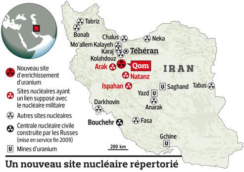 Carte des sites nucléaires en Iran