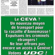 L'encart de l'UDC a provoqué une manifestation de travailleurs à Genève jeudi.
