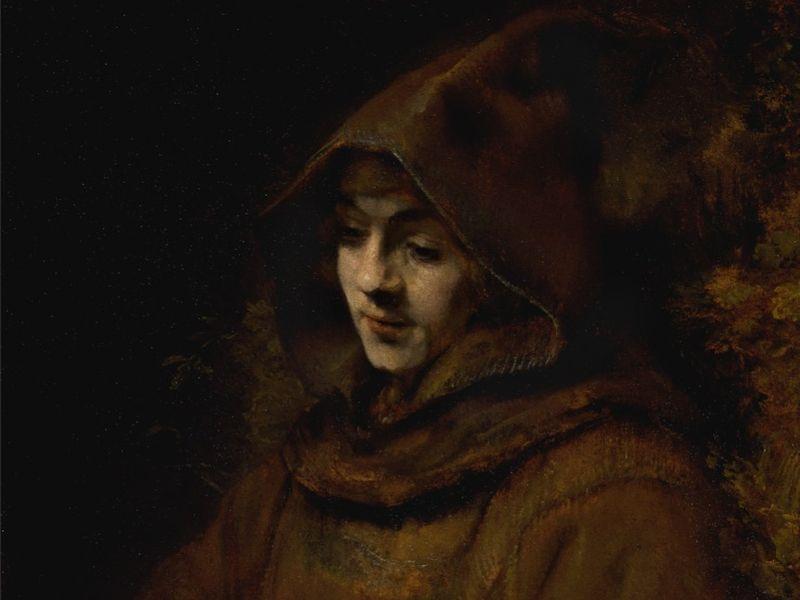Portrait de son fils Titus, vêtu en moine, Rembrandt Harmensz van Rijn, 1660. Huile sur toile, 79,5 x 67,5 cm.