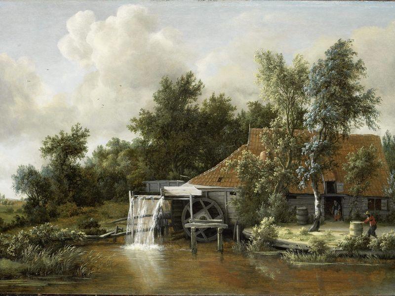 Le moulin à eau, Meindert Hobbema, c. 1666. Huile sur panneau, 60,5 x 85 cm.