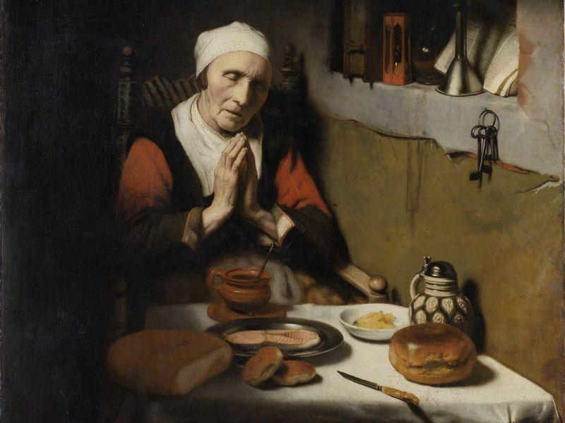 Vieille femme en prière, Nicolaes Maes, c. 1650-60. Huile sur toile, 132 x 111 cm.