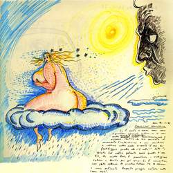 Dessin de Federico Fellini - Rêve du 1er avril 1975 Livre des Rêves © Fondazione Federico Fellini, Rimini