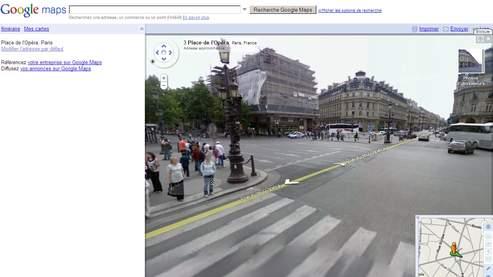 Vue de la place de l'Opéra, à Paris, dans Google Street View.