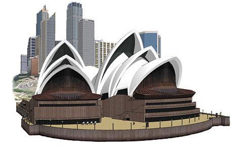 L'Opéra de Sydney, modélisé dans Sketchup.