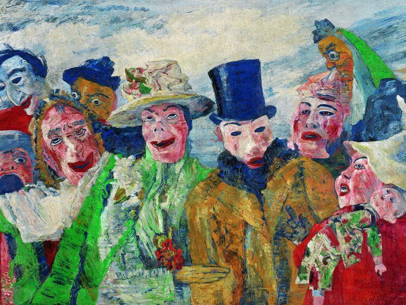 Artiste-peintre belge, James Ensor a adheré aux mouvements d'avant-garde du début du XXe siècle. Il a laissé une œuvre expressionniste et originale. James Ensor, L'Intrigue, 1890, Huile sur toile, 90 x 150 cm.