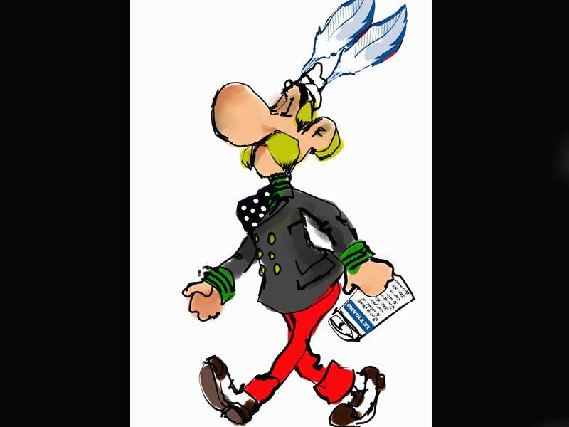 <b>Entre les mains de Christian Lacroix</b>, Astérix devient un dandy citadin ! Veste à double boutonnage à la mode de cet hiver, pantalon à larges revers comme il est de bon ton cette saison, mocassins bicolores et foulard à pois : ce Gauloislà suit l'actualité de la mode. Normal, il lit Le Figaro ! Et a même glissé la plume du logo du quotidien dans le gros-grain de son chapeau pour conforter son panache !