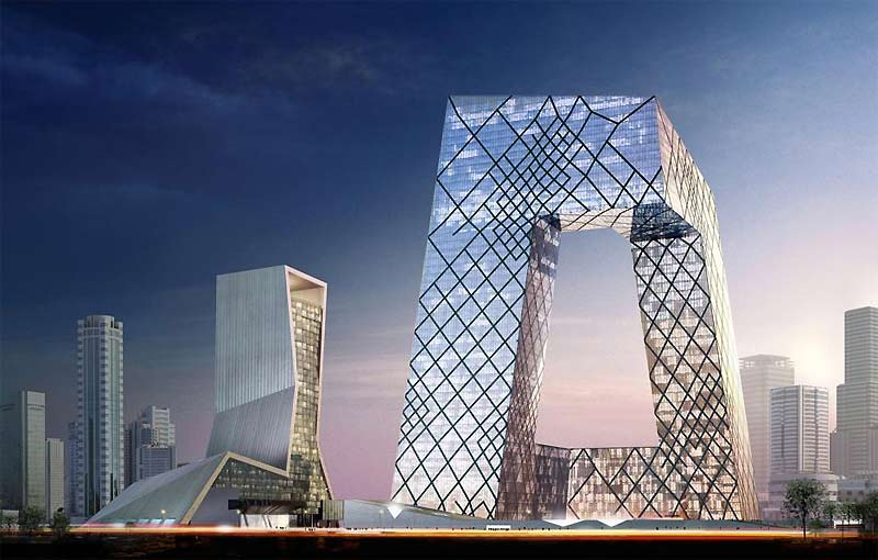 />Centre de la télévision chinoise, à Pékin </b> <p>Parfaitement intégré dans ce district des affaires à Pékin, où les tours fleurissent à grande vitesse, ce centre de la télévision chinoise a coûté la bagatelle de 1,309milliard de dollars. S'étendant sur une surface de 560000m2, ce complexe en forme de «L», construit par le Bureau de l'architecture métropolitaine s'élève, à son plus haut point, à 234 mètres. C'est une sorte de diamant en verre comprimé dans une structure d'acier. À l'intérieur, il est traversé par une galerie permettant au visiteur d'avoir des points de vue exceptionnels sur la ville.</p> <p>&nbsp;&raquo; height=&nbsp;&raquo;281&Prime; /></font></p> <p><font face=