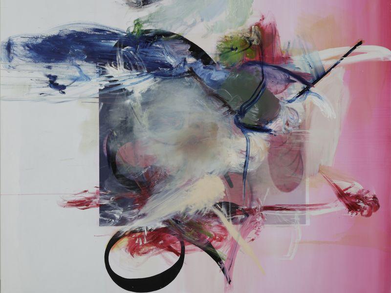 Albert Oehlen, FM 28, 2008, huile sur toile, 190 cm x 220 cm.