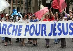 Des protestants évangélistes participent à la «marche internationale pour Jésus» à Paris, le 27 juin dernier.
