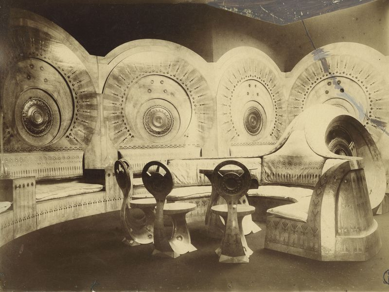 Carlo Bugatti, Salon « Escargot », Exposition internationale d'Art moderne décoratif de Turin, 1902, photographie d'époque