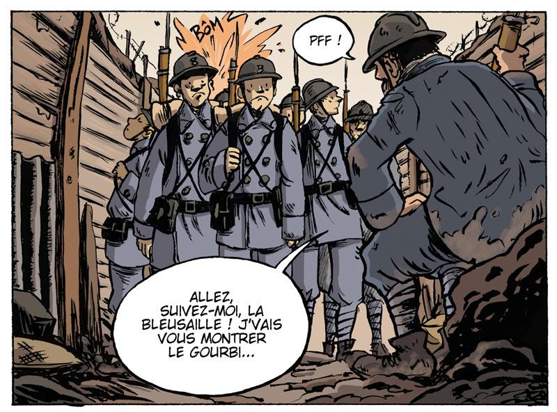 <b>Bleuet</b> : Denis Lachaussée et Aude Soleilhac <br />Bleuet, c'est le surnom donné à un nouvel arrivant dans l'enfer des tranchées. Le jeune soldat n'aura de cesse d'essayer d'apporter, par ces petits riens du quotidien, un peu de joie et de bonne humeur avant de se faire happer par la mort.