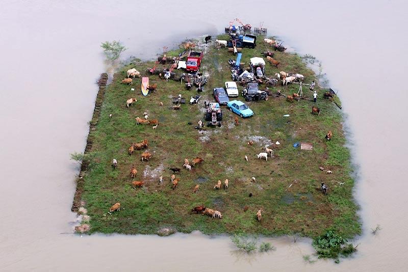 Le 8 novembre 2009, un lopin de terre est encerclé par les eaux. Près de Jerami Perdas, en Malaisie, des centaines de villageois ont été temporairement évacués de la zone après les inondations consécutives à la mousson.