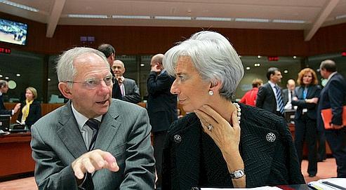 Wolfgang Schäuble, ministre allemand des Finances et Christine Lagarde, ce mardi à Bruxelles.