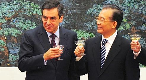 François Fillon et son homogue Wen Jiabao, le 21 décembre.