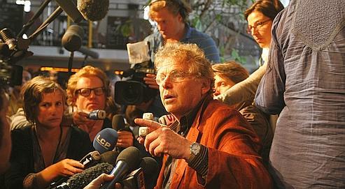 Conférence de presse de Daniel Cohn-Benditau lendemainde son succèsaux élections européennes,le 8 juin dernier.