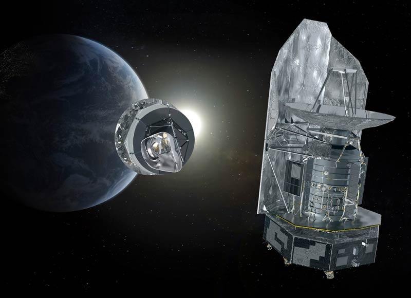 />Ariane lance Herschel et Planck.</b> Le 14mai, la fusée européenne, qui a fêté ses 30ans cette année, envoyait les deux grands télescopes spatiaux de l'Agence spatiale européenne (ESA), Herschel et Planck, vers le point de Lagrange L2, à 1,5million de kilomètres de la Terre. De là-haut, Herschel observera pendant un peu plus de trois ans la naissance des étoiles et des galaxies dans l'infrarouge lointain et le submillimétrique, une partie du spectre électromagnétique encore inexplorée à ce jour. De son côté, Planck dressera une cartographie ultraprécise des premiers rayons de lumière émis juste après le big bang. Ces merveilles de la technologie spatiale, dont le coût s'élève à 1,8milliard d'euros, vont permettre aux astronomes de réaliser une plongée dans l'inconnu qui pourrait révolutionner notre vision actuelle de l'univers.<br />Ariane lance Herschel et Planck</p> <p>Le 14mai, la fusée européenne, qui a fêté ses 30ans cette année, envoyait les deux grands télescopes spatiaux de l'Agence spatiale européenne (ESA), Herschel et Planck, vers le point de Lagrange L2, à 1,5million de kilomètres de la Terre. De là-haut, Herschel observera pendant un peu plus de trois ans la naissance des étoiles et des galaxies dans l'infrarouge lointain et le submillimétrique, une partie du spectre électromagnétique encore inexplorée à ce jour. De son côté, Planck dressera une cartographie ultraprécise des premiers rayons de lumière émis juste après le big bang. Ces merveilles de la technologie spatiale, dont le coût s'élève à 1,8milliard d'euros, vont permettre aux astronomes de réaliser une plongée dans l'inconnu qui pourrait révolutionner notre vision actuelle de l'univers.» height=»320″ /></font></strong></p> <p><strong><font face=
