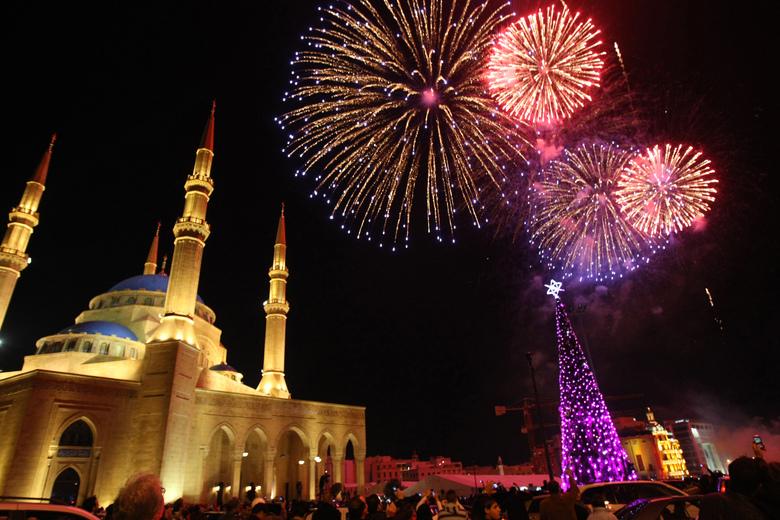 La fête a battu son plein dans le centre-ville de  />Beyrouth</b>, la capitale du Liban.» height=»341″ /></p> <p class=