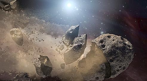 Vue d'artiste d'astéroïdes provenant de restes d'étoiles mortes.