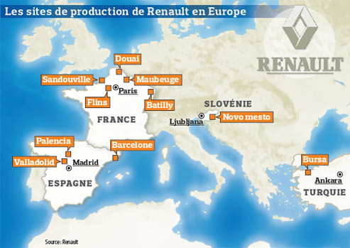 carte europe renault